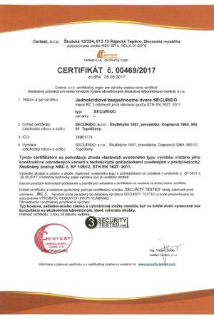 Certifikát III. bezpečnostní třída