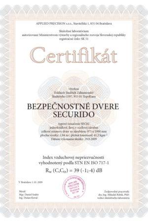 Certifikát SECURIDO hluk