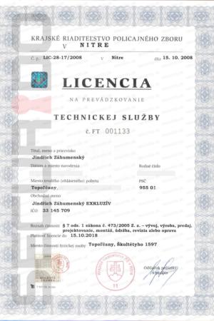 Licence technické služby