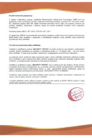 Certifikát III. bezpečnostní třída, strana 2